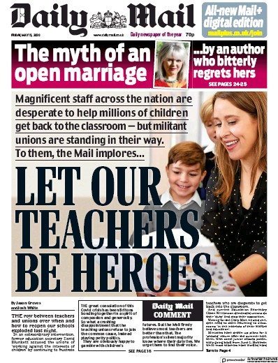 Daily Mail Newspaper Front Page (UK) for 15 May 2020