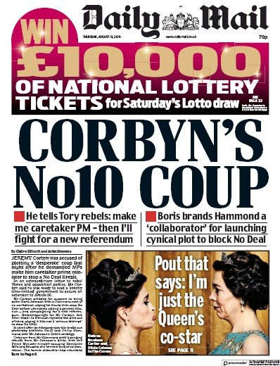 Daily Mail Newspaper Front Page (UK) for 15 August 2019