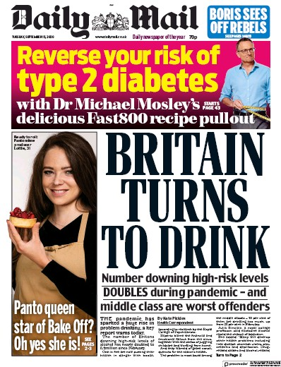 Daily Mail Newspaper Front Page (UK) for 15 September 2020