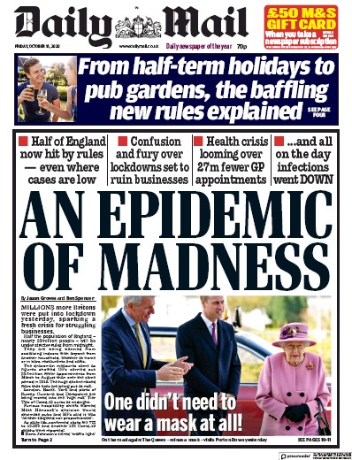 Daily Mail Newspaper Front Page (UK) for 16 October 2020
