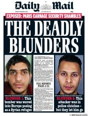 Daily Mail (UK) Newspaper Front Page for 16 November 2015