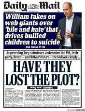Daily Mail (UK) Newspaper Front Page for 16 November 2018