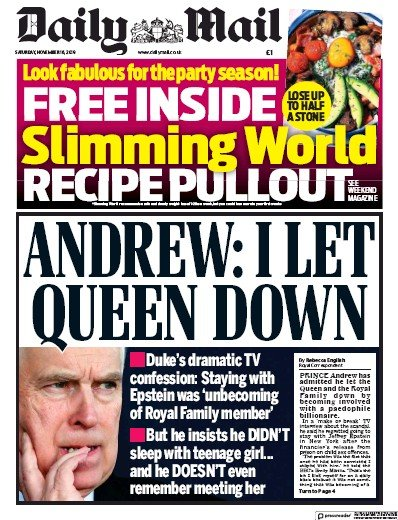 Daily Mail Newspaper Front Page (UK) for 16 November 2019