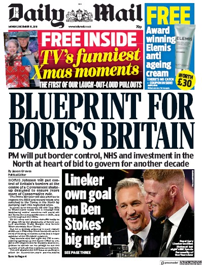 Daily Mail Newspaper Front Page (UK) for 16 December 2019