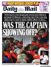 Daily Mail Newspaper Front Page (UK) for 16 January 2012