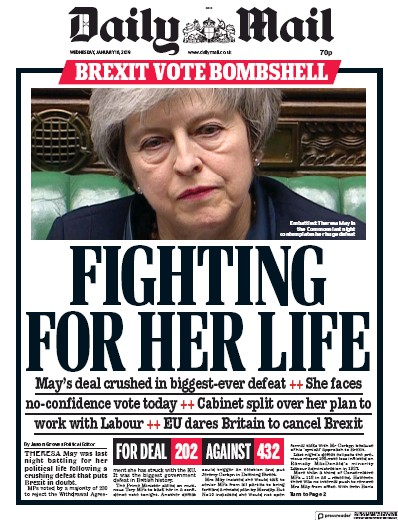 Daily Mail Newspaper Front Page (UK) for 16 January 2019