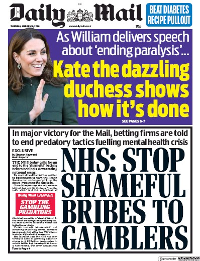 Daily Mail Newspaper Front Page (UK) for 16 January 2020