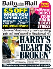 Daily Mail front page for 16 January 2021