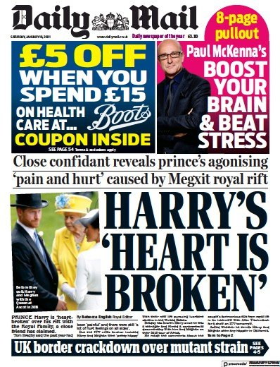 Daily Mail Newspaper Front Page (UK) for 16 January 2021