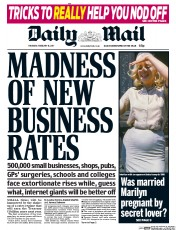 Daily Mail (UK) Newspaper Front Page for 16 February 2017