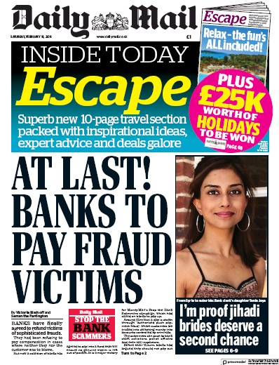 Daily Mail Newspaper Front Page (UK) for 16 February 2019