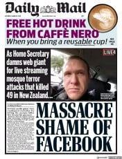 Daily Mail () Newspaper Front Page for 16 March 2019