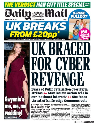 Daily Mail Newspaper Front Page (UK) for 16 April 2018
