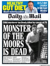 Daily Mail (UK) Newspaper Front Page for 16 May 2017