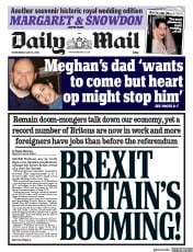 Daily Mail (UK) Newspaper Front Page for 16 May 2018