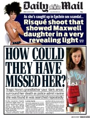 Daily Mail (UK) Newspaper Front Page for 16 August 2019