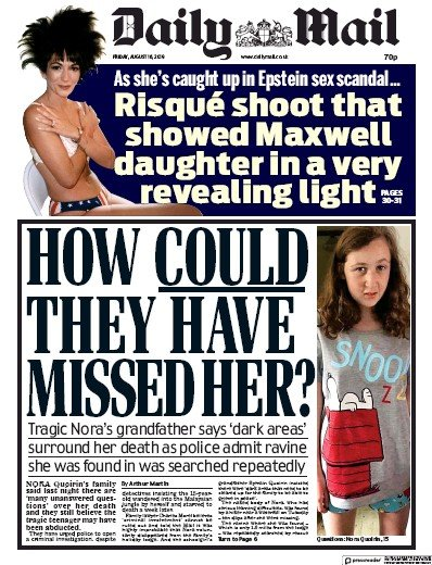 Daily Mail Newspaper Front Page (UK) for 16 August 2019