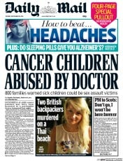 Daily Mail (UK) Newspaper Front Page for 16 September 2014
