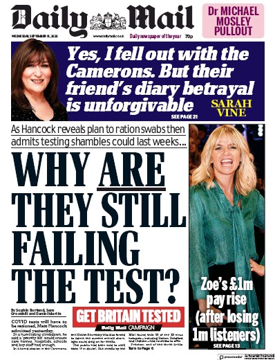 Daily Mail Newspaper Front Page (UK) for 16 September 2020