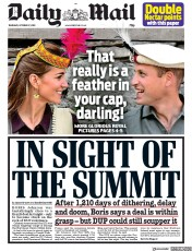 Daily Mail (UK) Newspaper Front Page for 17 October 2019