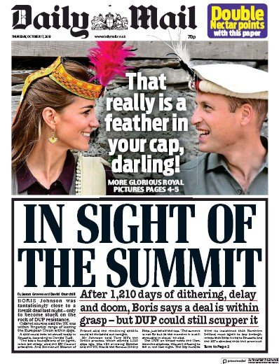 Daily Mail Newspaper Front Page (UK) for 17 October 2019