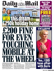 Daily Mail front page for 17 October 2020