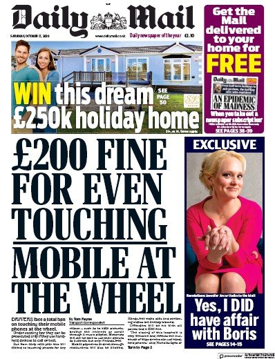 Daily Mail Newspaper Front Page (UK) for 17 October 2020