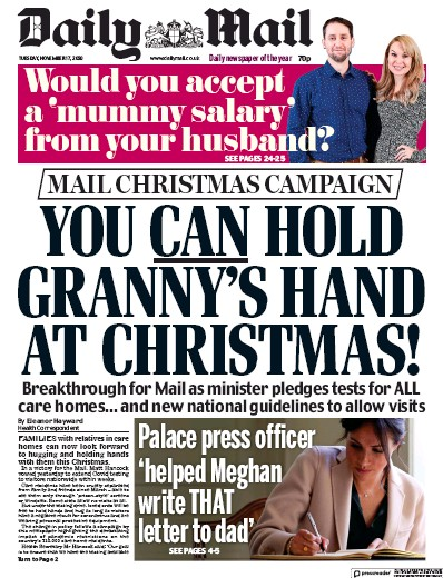 Daily Mail Newspaper Front Page (UK) for 17 November 2020