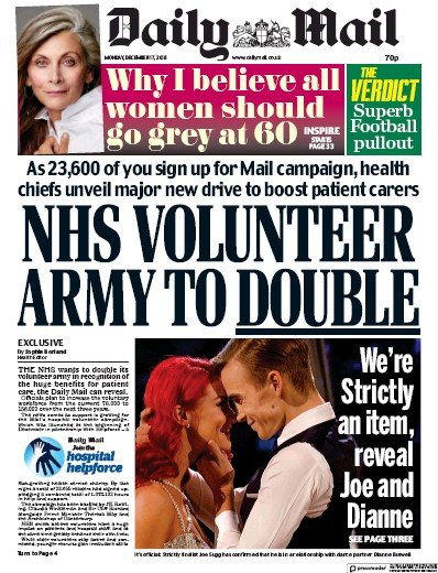 Daily Mail Newspaper Front Page (UK) for 17 December 2018
