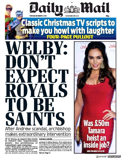 Daily Mail Newspaper Front Page (UK) for 17 December 2019