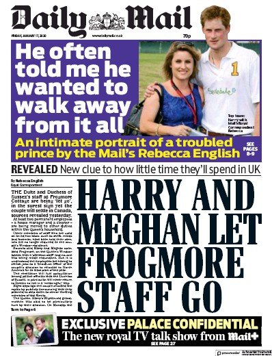 Daily Mail Newspaper Front Page (UK) for 17 January 2020