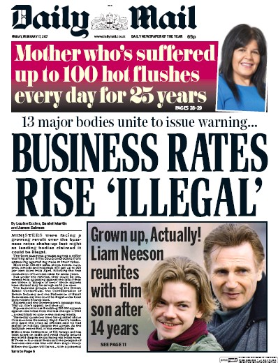 Daily Mail Newspaper Front Page (UK) for 17 February 2017