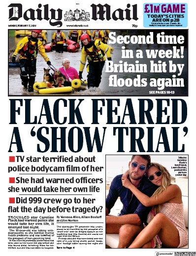Daily Mail Newspaper Front Page (UK) for 17 February 2020