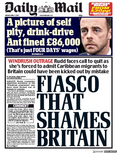 Daily Mail Newspaper Front Page (UK) for 17 April 2018