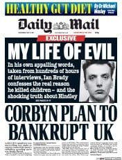 Daily Mail (UK) Newspaper Front Page for 17 May 2017
