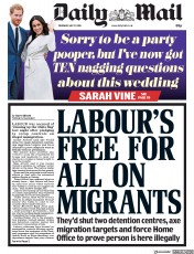 Daily Mail (UK) Newspaper Front Page for 17 May 2018