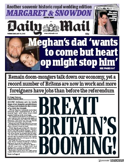 Daily Mail Newspaper Front Page (UK) for 17 May 2018