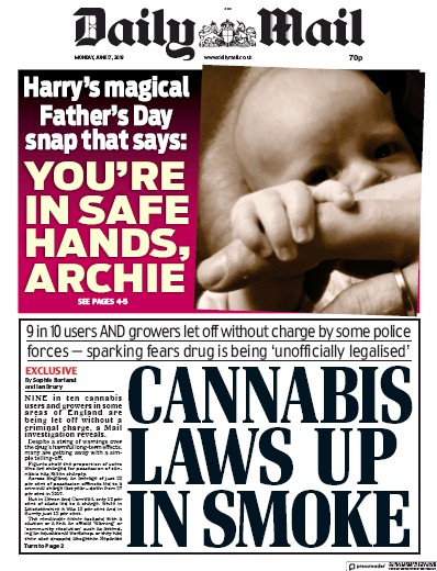 Daily Mail Newspaper Front Page (UK) for 17 June 2019