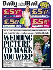 Daily Mail (UK) Newspaper Front Page for 17 August 2019