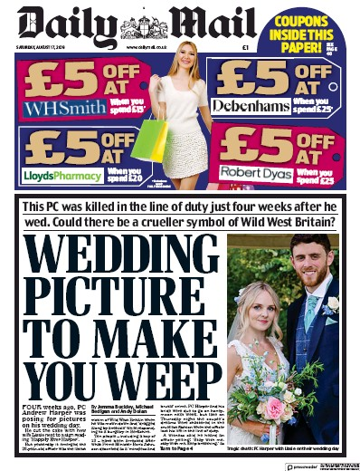 Daily Mail Newspaper Front Page (UK) for 17 August 2019