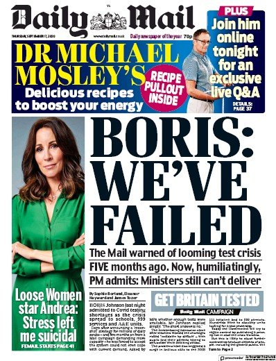 Daily Mail Newspaper Front Page (UK) for 17 September 2020