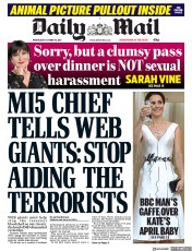 Daily Mail (UK) Newspaper Front Page for 18 October 2017