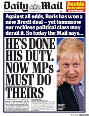 Daily Mail (UK) Newspaper Front Page for 18 October 2019
