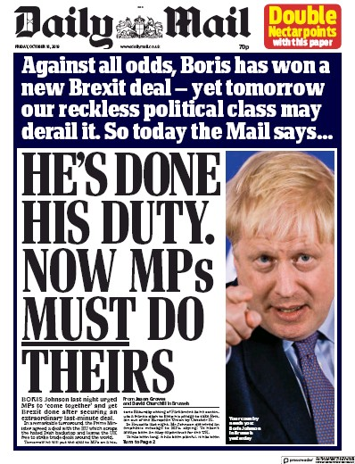 Daily Mail Newspaper Front Page (UK) for 18 October 2019