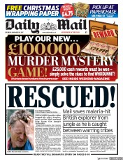 Daily Mail (UK) Newspaper Front Page for 18 November 2017
