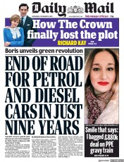 Daily Mail Newspaper Front Page (UK) for 18 November 2020