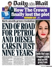 Daily Mail front page for 18 November 2020