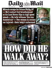 Daily Mail (UK) Newspaper Front Page for 18 January 2019