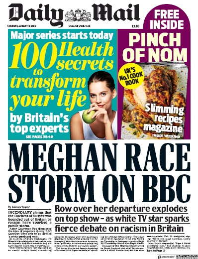 Daily Mail Newspaper Front Page (UK) for 18 January 2020