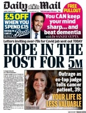 Daily Mail front page for 18 January 2021